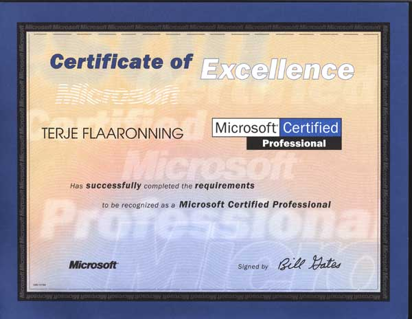 2000.07.18: Microsoft Certified Professionalt