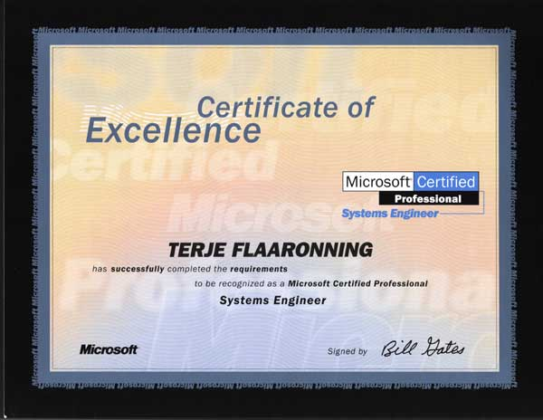2000.10.12: Microsoft Certified Systems Engineer, Windows NT 4.0