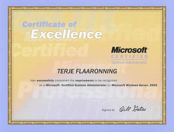 2004.02.27: Microsoft Certified Systems Administrator, Windows Server 2003