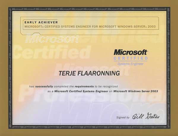 2004.02.27: Microsoft Certified Systems Engineer, Windows Server 2003